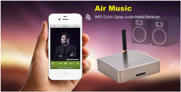 New Wonderful Music 2dbi AirMusic AirPlay DLNA AirPlay Qplay Wifi Music Audio Receiver HIFI Speaker SV008356