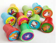 Color Plastic Handle Toy inking rubber Stamp for children