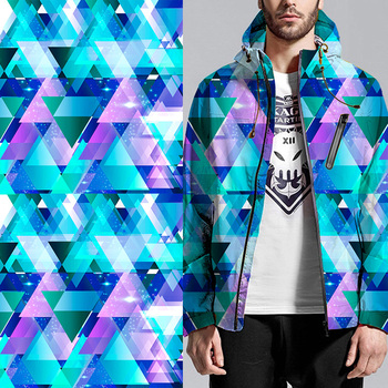 Custom men fashion air layer geometry pattern digital printed jacket fabric