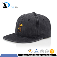 Guangzhou daijun oem 100% cotton black colour washed flat brim embroidery custom men high quality unstructured snapback caps