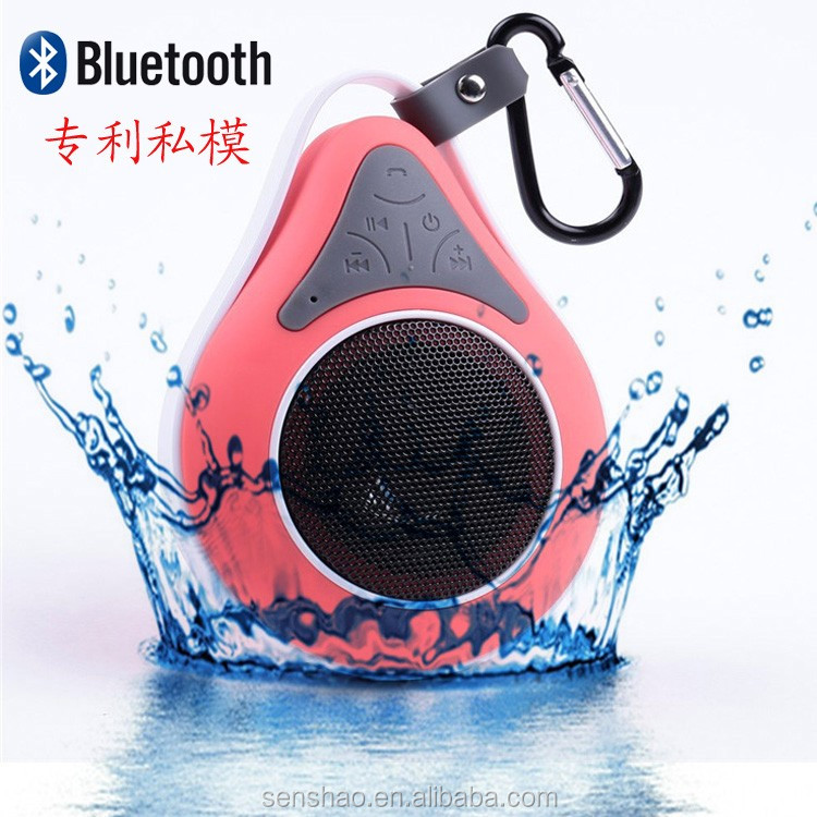2686Waterdrop shape wireless bluetooth shower waterproof speaker With suction cup handsfree calling With voice reminder function