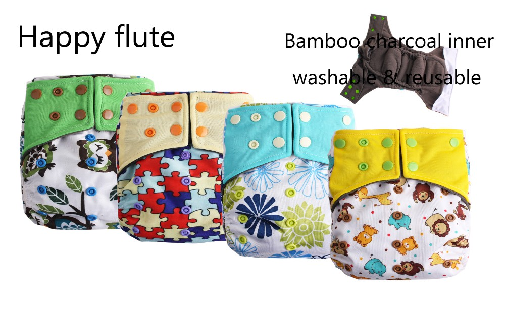 Happy Flute washable cloth baby diaper bamboo pocket AIO diapers factory wholesale