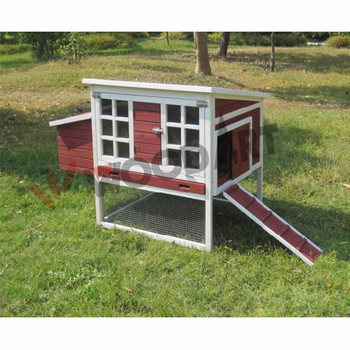 Outdoor large multi-tier chicken coop with wood ramp