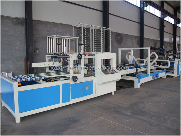 Corrugated cardboard full automatic carton box folder gluer machine