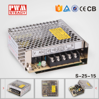 25w 15v 1.7a S series Single Output Switching enclosed ac dc switching power supply/ce
