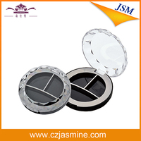 three cell round shape transparent empty compact powder container