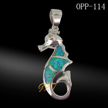 925 sterling silver sea horse shaped opal pendant jewelry