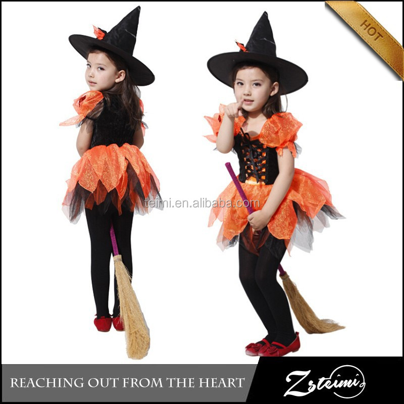 2015 New Arrivall Wholesale Carnival Kids Witch Fairy With Witch Hat Halloween Costume