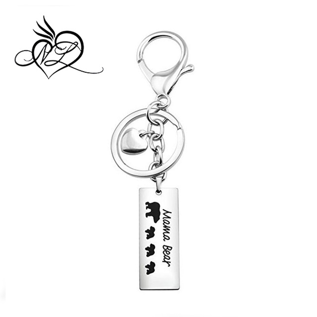 Stainless Steel Personalized Mama Bear Key Chain Jewelry, Mother's Day Gift