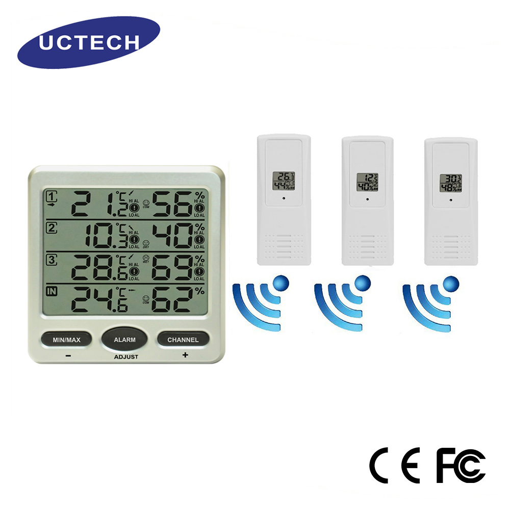 Promotional 8 sensors 433MHZ weather conditions handheld mini min max lcd thermo-hygrometer