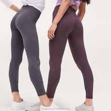 90% Polyester 10% Spandex Yoga Pants Wholesale, Compression Seamless Fitness Yoga Pants White