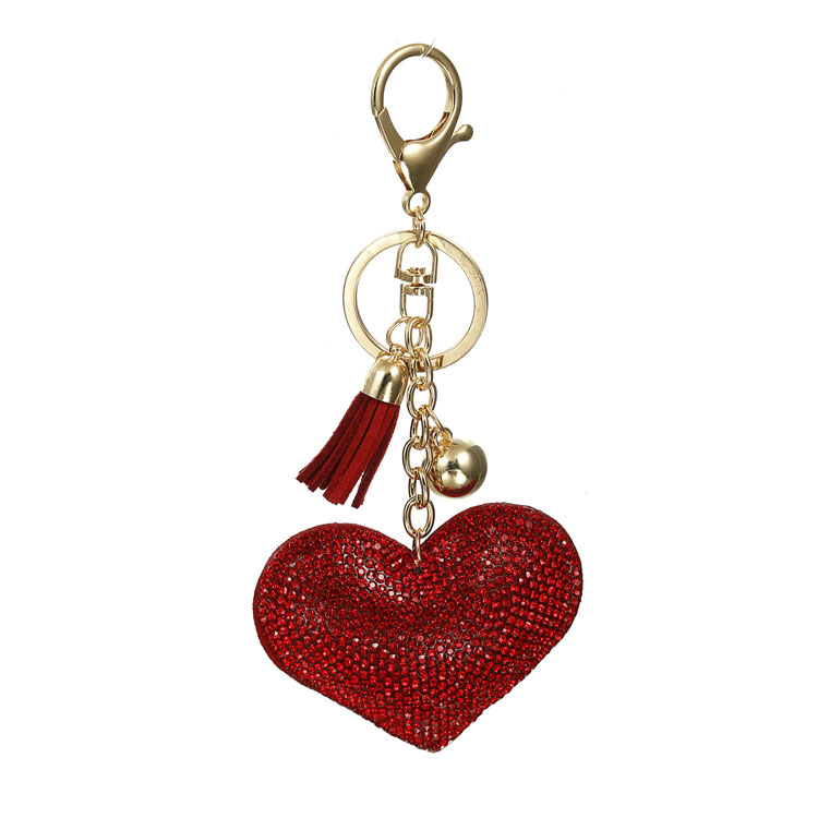 Heart shape fashion rhinestone metal tassel key chains Wholesaler