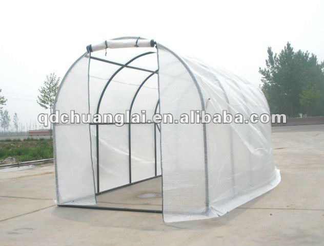 Vegetable Plant Growing Of Plastic Flower Garden Greenhouse