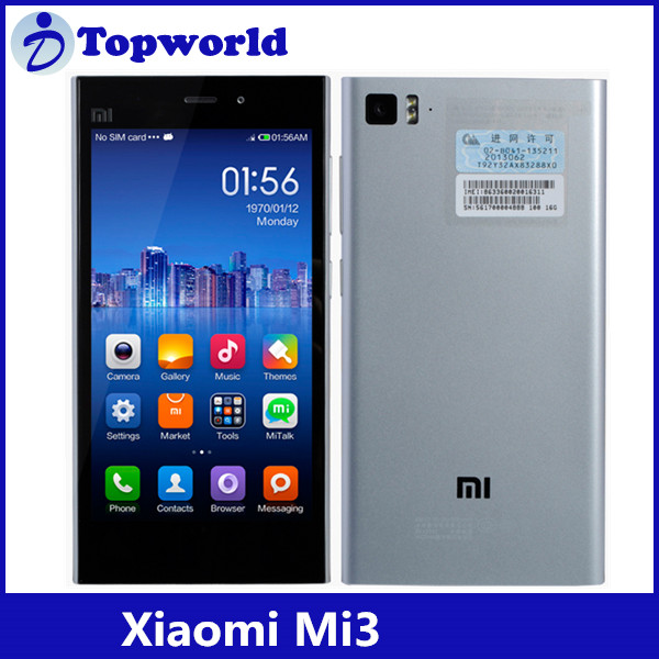 "5"" Original Xiaomi Mi 3 Mobile Phone IPS 1920x1080 2GRAM 16GROM Quad Core 2.3G Android 4.2 13.0MP"