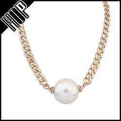 Women fashion jewelry custom unique gold plated chain artificial pearl necklace