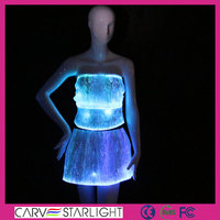 2016 fiber optic luminous new fancy girls crop top and skirt set