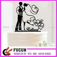 wholesale wedding decorative Bride and groom Mr and Mrs acrylic cake stand topper