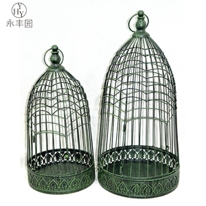Metal Hanging Bird Cage Holder Iron Lantern Candle Stand