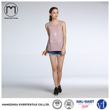 Good quality summer women sleeveless slim dry fit pink print casual t shirt