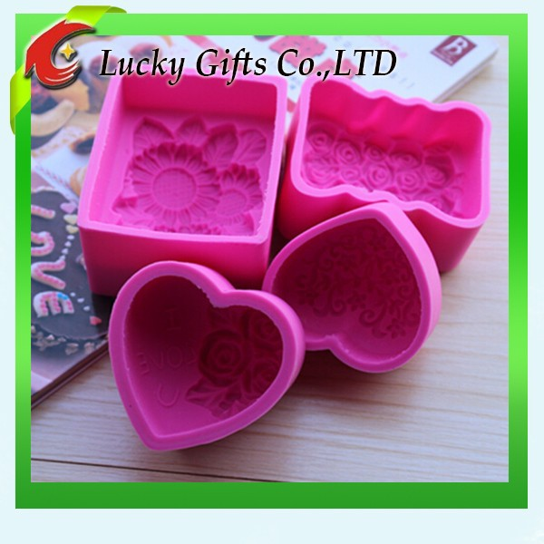 Hot Selling High Quality Heart Square Custom Silicone Soap Molds