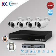 4piece 1MP IP camera with 1piece 4ch poe nvr for home securuty nvr kit