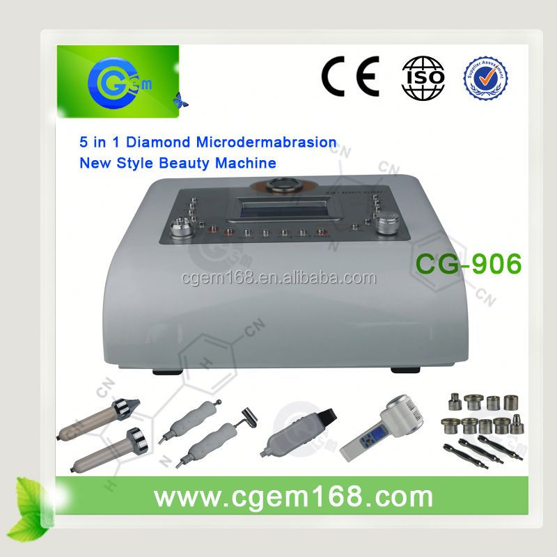 CG-906 High quality 5 in 1 Diamond dermabrasion galvanic electrical facial machine for sale