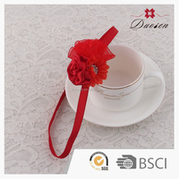 Top quality red chiffon baby headband with flower for kids