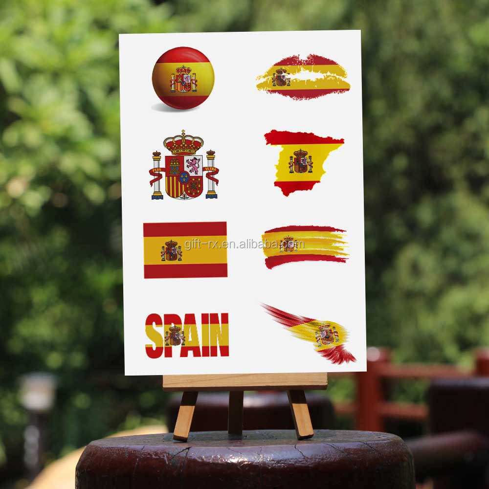 Spain flag face tattoo lip tattoo 2016 Olympic game nation flag temporary tattoo