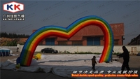 7M Large inflatable arch balloon for wedding ceremony , rainbow love heart inflatable archway