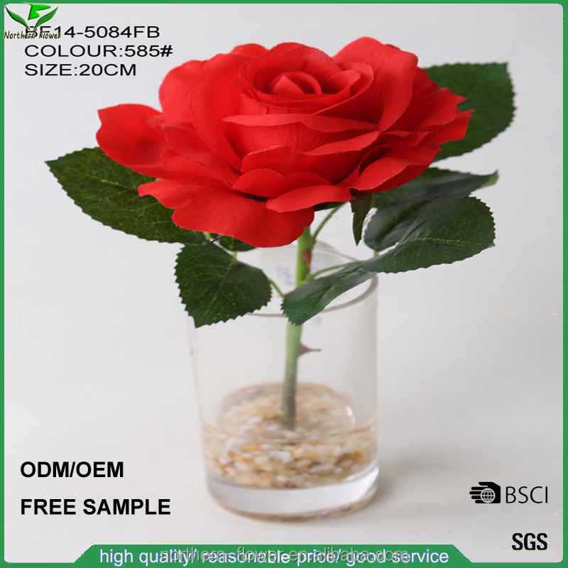 Top Quality Artificial Flowers, red artificial rose flower in glass vase for wedding decoration