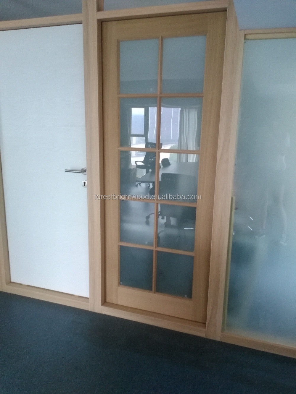 Interior oak veneered wood french door with forest glass for Purchase french doors