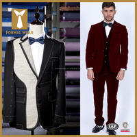 Full Canvas Fashion Red Velvet Bespoke Suit for Men