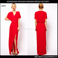 Custom Hot Fashion Red color Short Sleeve Maxi Front Wrap Dress,Ladies Latest Design Long Maxi Dresses for Party