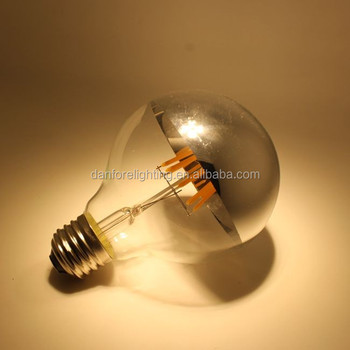 Mirror top E27 G95 silver top led filament bulb with copper top, golden top