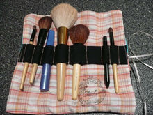 cosmetic brush roll, make up organizer on blue and pink
