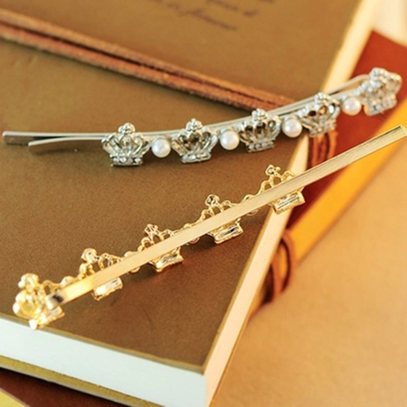 New Brand Fashion Imitation Pearls Crown Barrettes Hairpins for Women Headwear Hair Clips Accessories