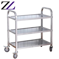 Kitchen buffet service equipment 3 tier hotel restaurant fast food serving cart with wheels food & beverage catering trolleys