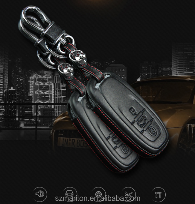 4D Fashion Genuine Leather Car Key Case For Audi Keychain With 3 press-keys