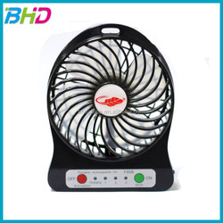 Low price China supplier 3 rechargeable mini fan USB fan with LED lights battery