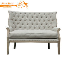 Hot sale Fashionable colorfull Love chair French two seater wooden sofa