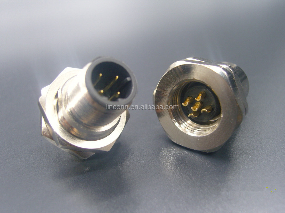 M12 5 pin ip67 male&female connector locking type M12 waterproof cable connector