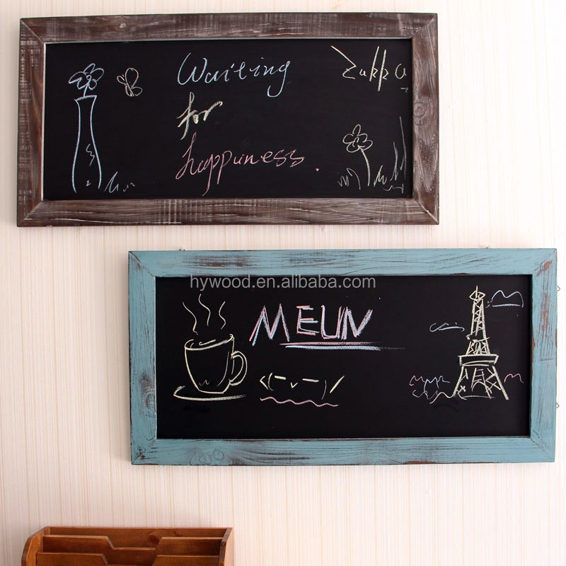 small wall hanging mounted chalk board wooden blackboard with wall sticker wood frame for kids school student restraunt