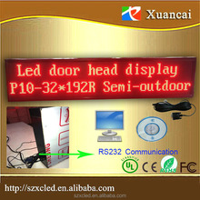 PH10mm 32x192 clock, tempe,image,gif,text,semi-outdoor gate head strip LED runing line sign