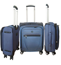 1680D nylon fabric soft luggage set with EVA front pocket/ trolley case with pinner double wheels/suitcase with expander