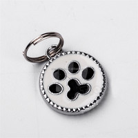 2015 Custom Design Painted Paw Shape Pet Tag with Key Ring