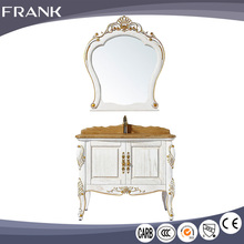Frank quality assurance wood color options hand carved flower modern hotel pvc bathroom furniture