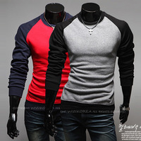Free Shipping Lasted Fashion O-neck man contrast color round hem blank raglan t-shirt M-2XL