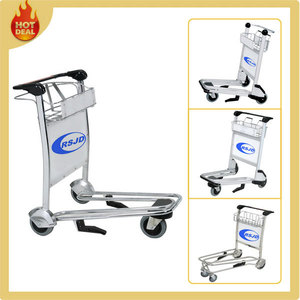 3 or 4 wheels stainless steel airport trolley