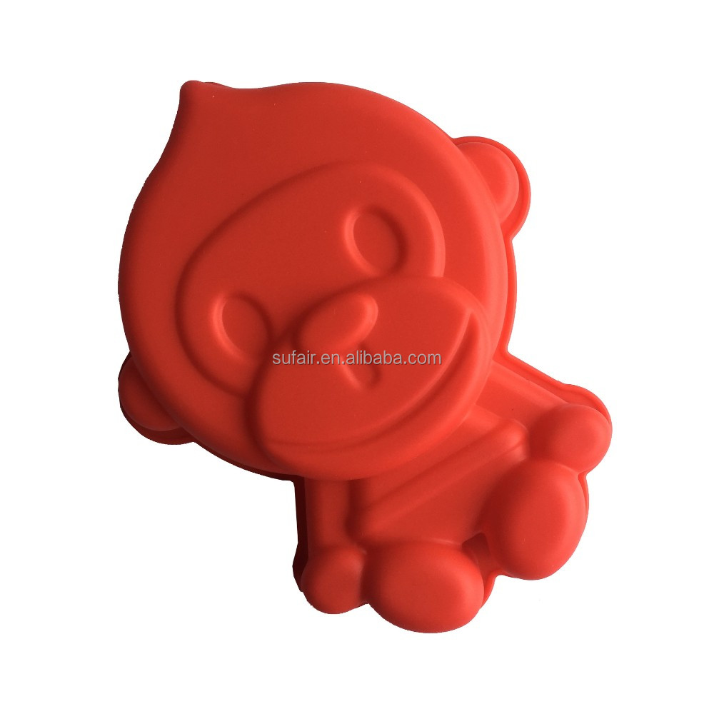 Flexible Eco-friendly 100% food grade monkey DIY mini silicone cake mould