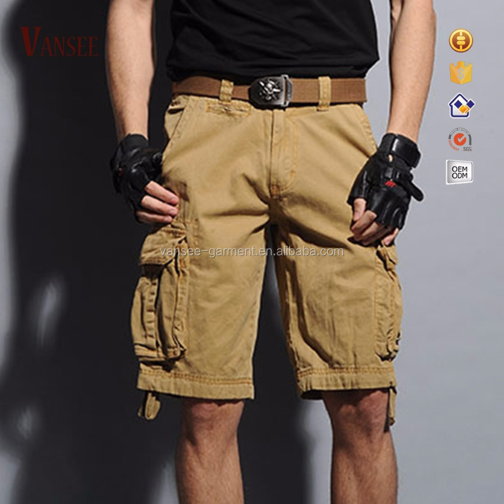 men's dungarees plain color cargo shorts 6 pockets